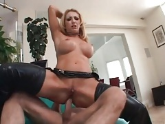 Leather looks good on hot slut fucking anally tubes