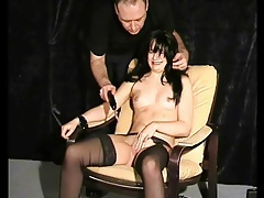 Cute bound girl suffers electro pussy pain tubes