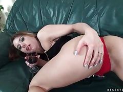 Cute chick drinks wine and sucks hard dick tubes