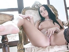 Sensual stockings striptease stars hot brunette tubes