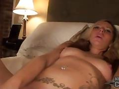 Drunk masturbating girl stuffs toy in cunt tubes