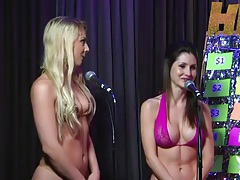 Sexy bikinis girls try a game show on radio tubes