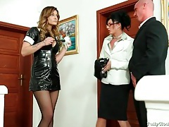 Maid in tight black latex dress is wicked sexy tubes