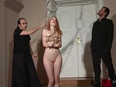 Redhead in rope bondage gives sexy blowjob tubes