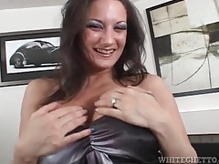 Fake titty milf bends over for pussy eating tubes