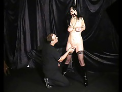 Bound girl in boots and stockings flogged tubes