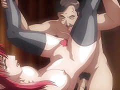 Fucking his pink haired hentai wife in her pussy tubes