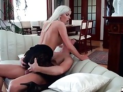 Bleach blonde with perky tits fucked in pantyhose tubes