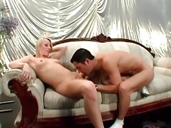 Hot blonde in satin panties sucks a cock tubes