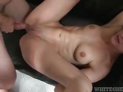 Slim shaved girl does hard pounding threesome vid tubes
