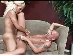 Tgirl fucks his face and pounds his tight asshole tubes