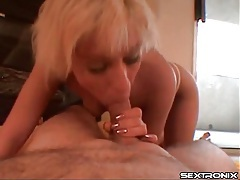 Short blonde hair on amateur blowing him tubes