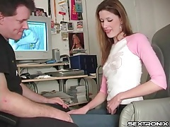 Cute girl in big earrings sucks his dick in office tubes
