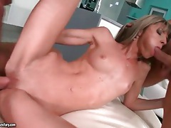 Bone skinny girl fucked in the cunt and ass tubes