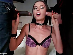 Cocksucking skinny slut taken hard in the ass tubes