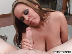 Brandy talore sucks him off onto her huge tits tubes
