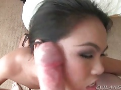 Asian gives messy head and sucks heavy balls tubes