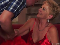 Going down on old lady in sexy satin lingerie tubes