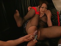 Double toy fucked as she sits in bondage tubes