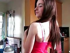Beautiful girl cooks in panties and sucks dick tubes