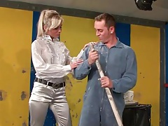 Janitor blown by hottie in satin blouse tubes