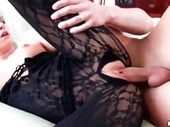 Sexy blonde in crotchless body stocking fucked tubes