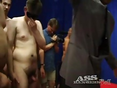 Beautiful young slut takes tons of cock in gangbang tubes