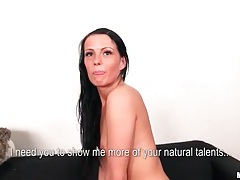 Naked chick teases her body on camera tubes