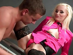 Sexy blonde in pink blouse sucks a dick tubes
