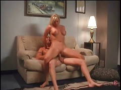 Cute blonde with curves rides him and bends over tubes