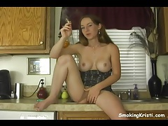 Great tits on this solo smoking cutie tubes