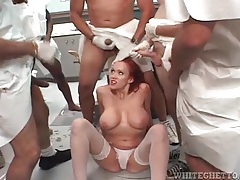 Redhead milf sucks hard dicks in blowbang tubes