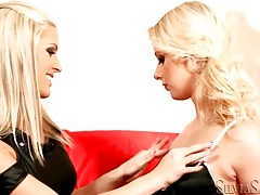 Black lingerie is sexy on hot lesbian blondes tubes