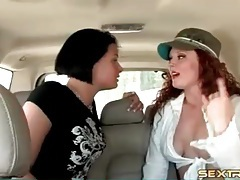 Lesbian sex in the car with two pornstars tubes