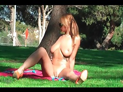 Busty bikini girl frisked in the park tubes