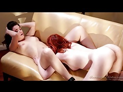 Milky white redhead eats cunt in lesbian porn tubes