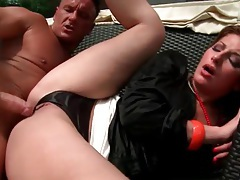 Fucking her cunt with throat around her neck tubes