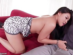 Asian in slutty dress and heels sucks his cock tubes