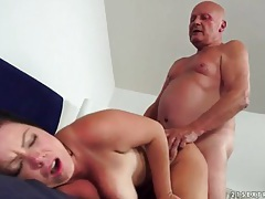 Curvy young lady with huge tits likes old cock tubes