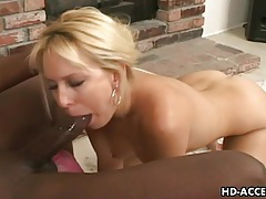 Fat black cock fucks horny knob gobbling blonde tubes