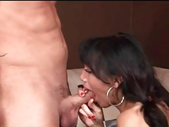 Tranny in black stockings sucks his hard cock tubes
