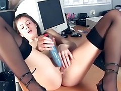 Office babe fingering in sheer stockings and heels tubes