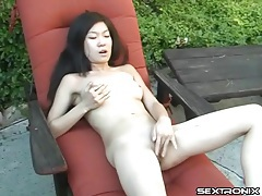 Cute naked asian masturbates outdoors tubes