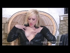Kinky blonde slut puts on leather gear and fingers herself tubes