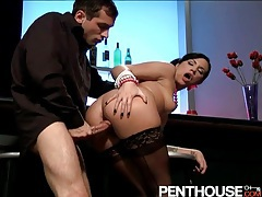 Cute chick bends over for his dick in the bar tubes