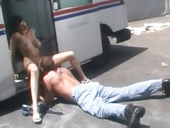 Licking pussy of big tits slut in postal truck tubes