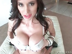 Her big tits are fondled before she blows tube