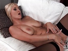 Blonde fingers her tight ass and pussy in stockings tubes