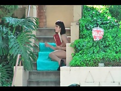 Girl in public gives lots of hot upskirt action tube