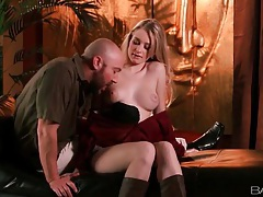 He goes down on beautiful girl in boots tubes